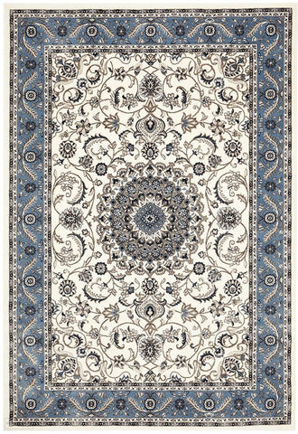 Sydney Collection Medallion Rug White with Blue Border - 170x120cm