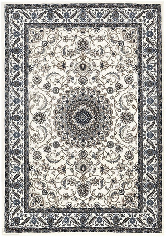 Sydney Collection Medallion Rug White with White Border - 170x120cm