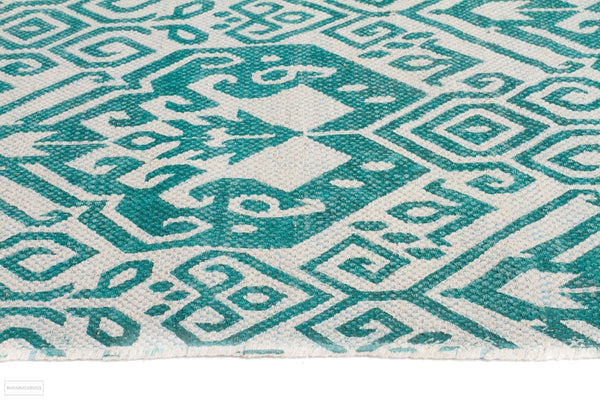 Zulu Totemic Parade Turquoise Rug