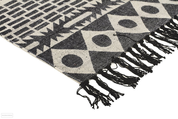 Zulu Totemic Flock Black Rug