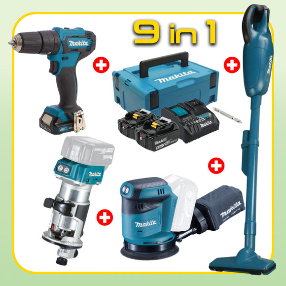 MAKITA Wood Working Combo [9 in 1] [HP333DNX10 + DBO180Z + DRT50Z + DCL180Z]