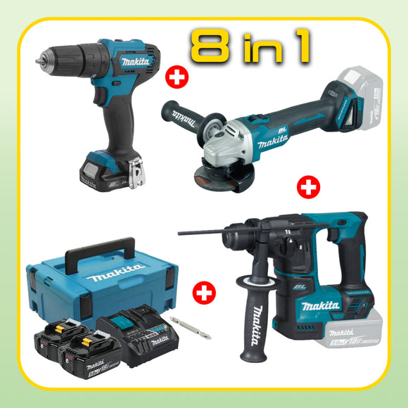 MAKITA Construction Combo [8 in 1] [HP333DNX10 +  DGA404Z + DHR171Z]