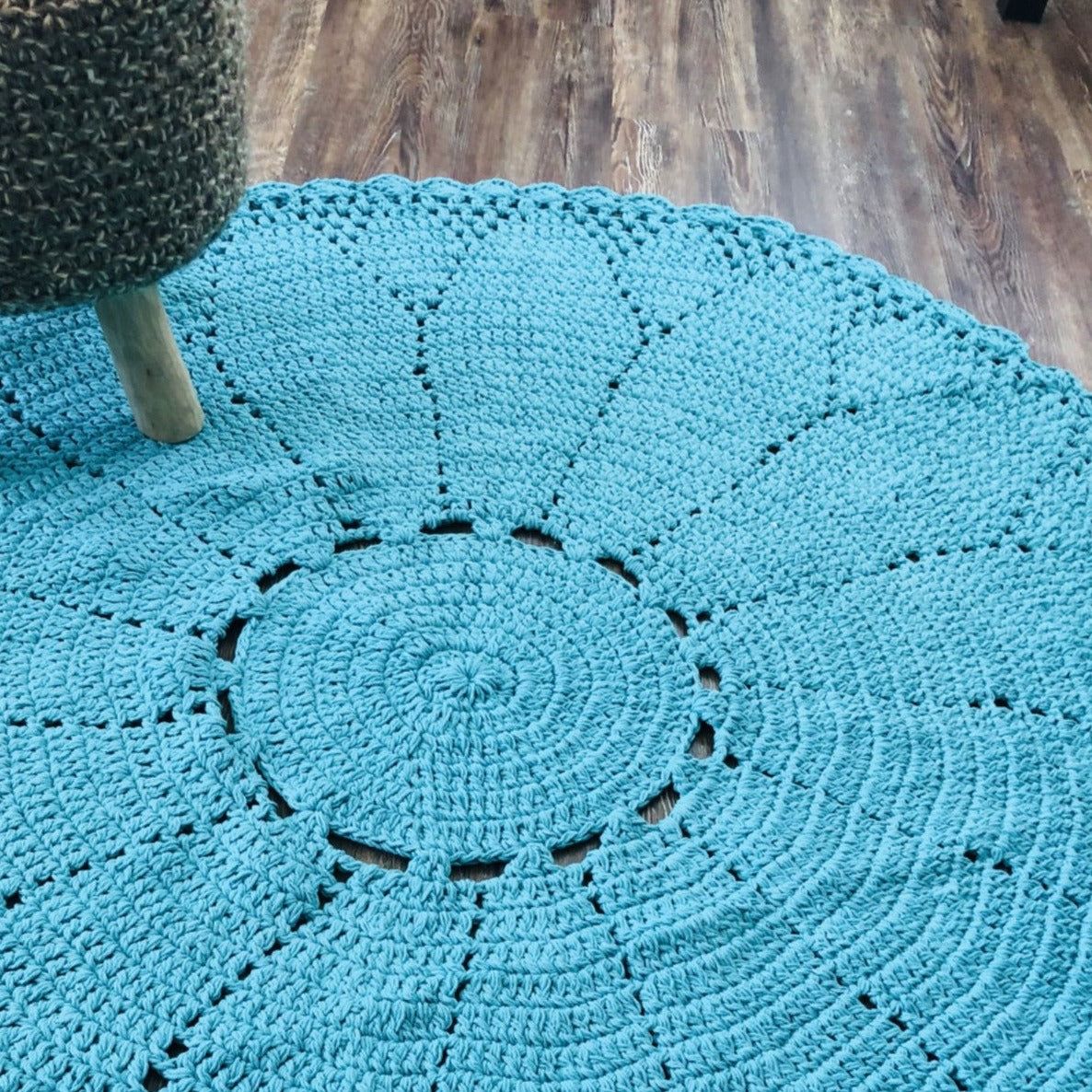 Marcellina Cotton Turquoise Area Rug