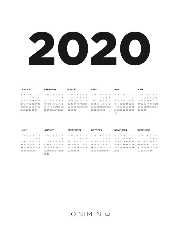 2020 Year-At-A-Glance Wall Calendar Download