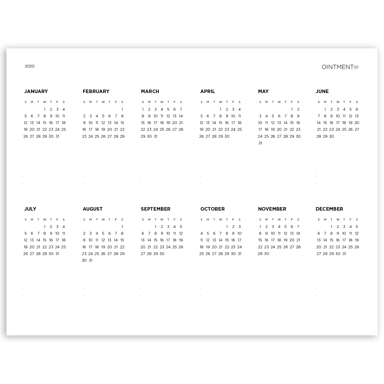 2020 Printable Download - Year At A Glance - 8.5x11""