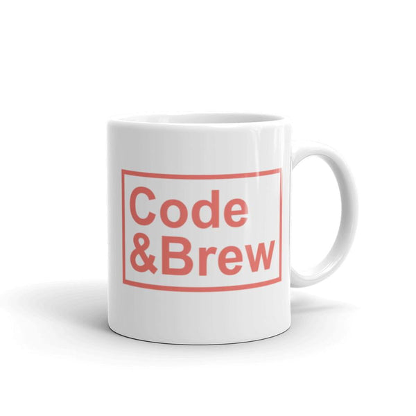 Code & Brew Coral color text White Glossy Mug - code-and-brew - Code and Brew