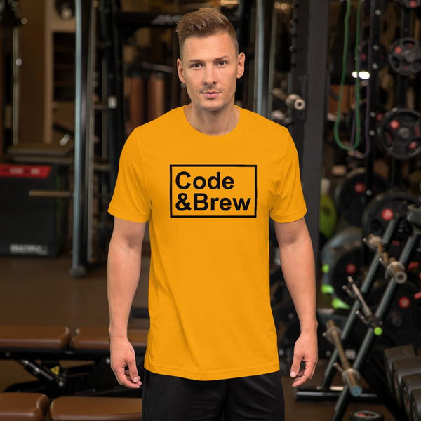 Code & Brew black text Short-Sleeve Unisex T-Shirt - code-and-brew - Code and Brew