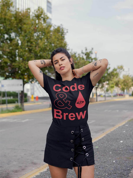 Code & Brew Short-Sleeve Unisex T-Shirt logo big text drip code and ampersand - code-and-brew - Code and Brew