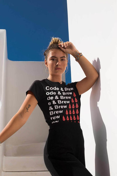 Code & Brew Short-Sleeve Unisex T-Shirt repeat white text and logo - code-and-brew - Code and Brew