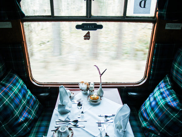 Dining car when traveling by train