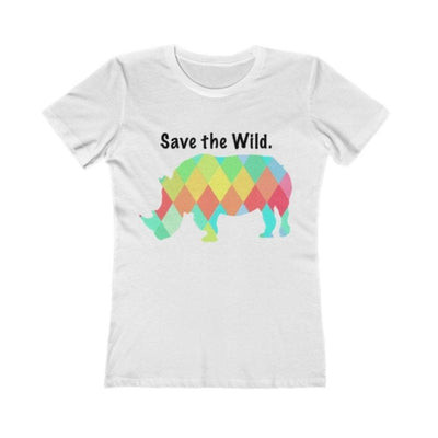 EvolveTravelGoods Rhino - Save the Wild Ladies Fitted Organic Tee