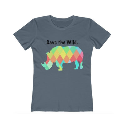 EvolveTravelGoods xs / pacific Rhino - Save the Wild Ladies Fitted Organic Tee
