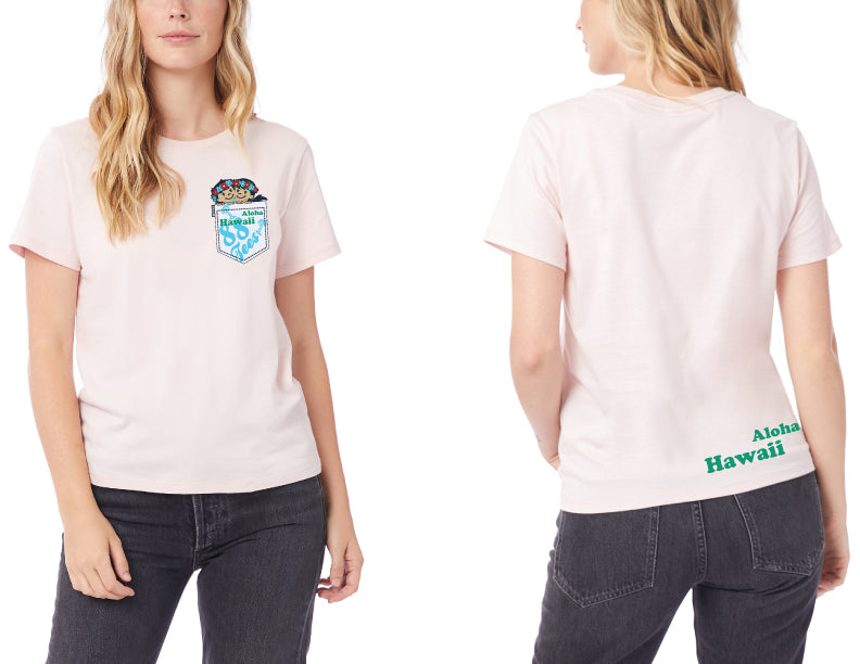 WOMENS PEEKING OUT OF MOCK POCKET TEE