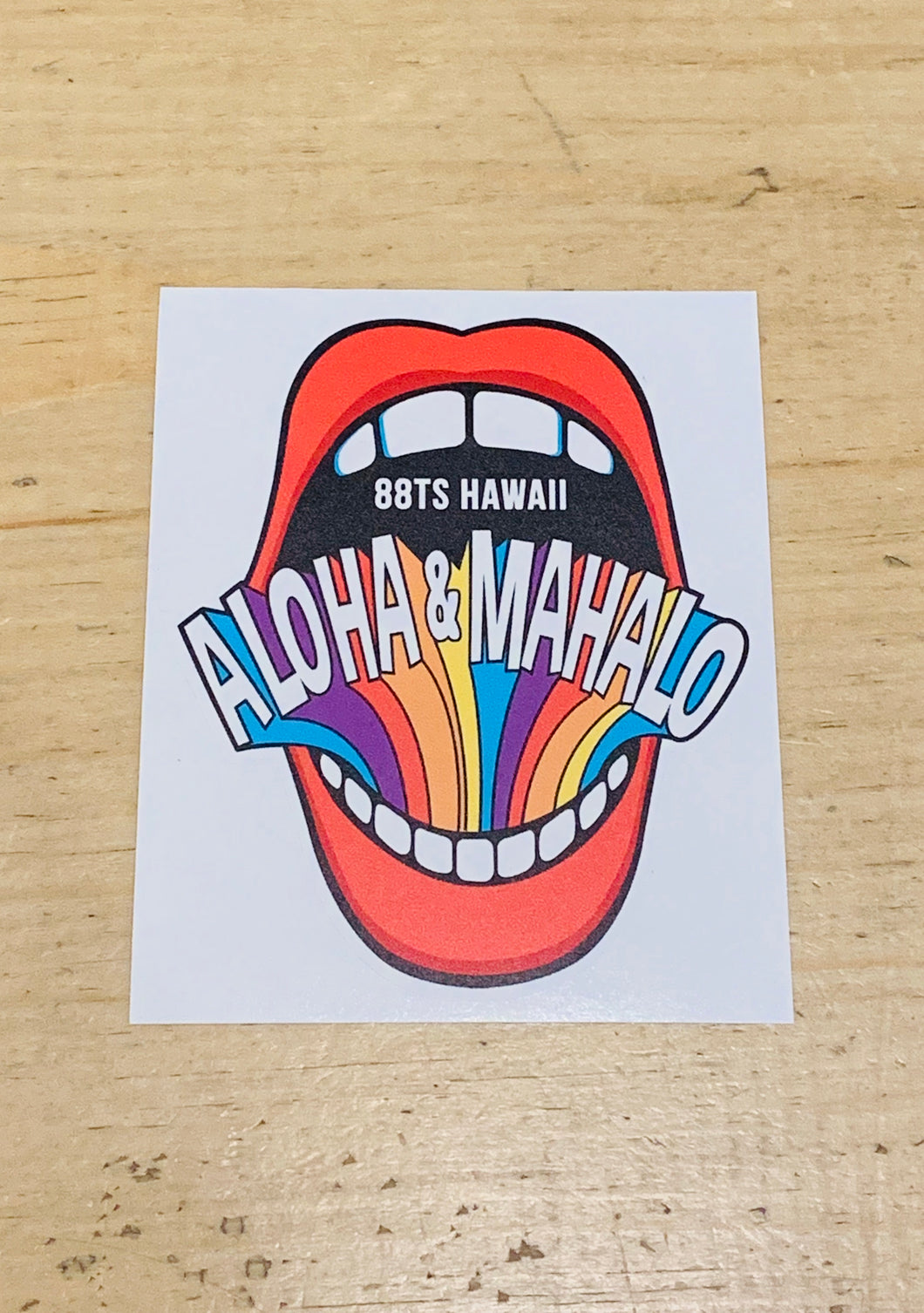ALOHA AND MAHALO LIPS STICKER