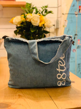 Load image into Gallery viewer, DENIM CURSIVE 88TEES CROSSBODY TOTE BAG