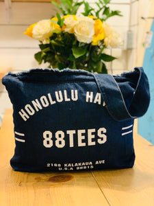 DENIM HONOLULU HI DESTROYED CROSSBODY TOTE BAG