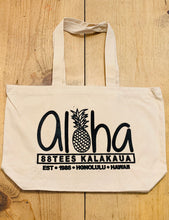 Load image into Gallery viewer, ALOHA PINEAPPLE PATCH CANVAS TOTE BAG