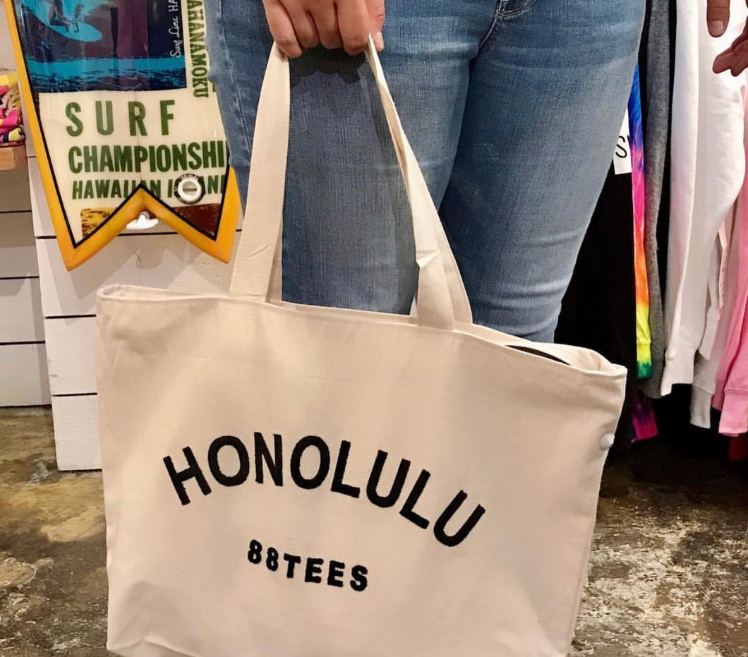 HONOLULU PATCH CANVAS TOTE BAG