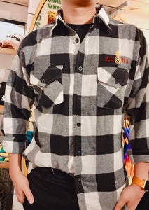 MENS EMBROIDERY ALOHA PINEAPPLE FLANNEL SHIRT
