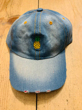 Load image into Gallery viewer, UNISEX EMBROIDERED PINEAPPLE DENIM BASEBALL CAP