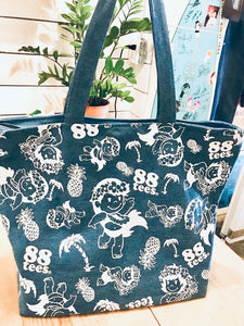 YAYA ALL OVER DENIM ZIPPER TOTE BAG