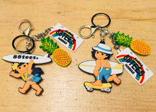 Load image into Gallery viewer, SURFER GIRL AND BOY PINEAPPLE KEYCHAIN
