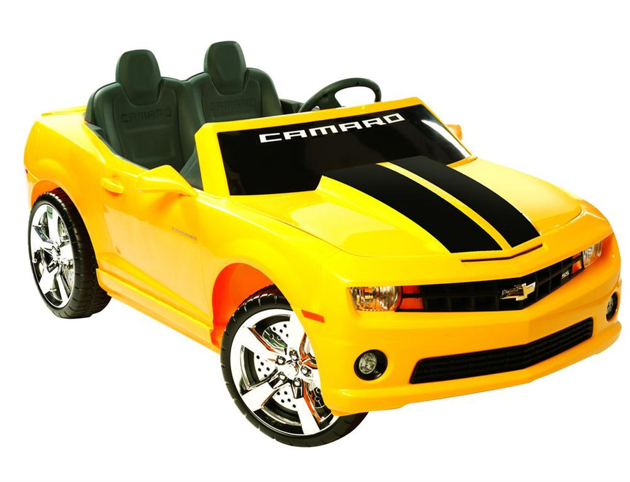 NPL Chevrolet Racing Camaro 12v Electric Ride-on Toy Yellow l Watt Fleet