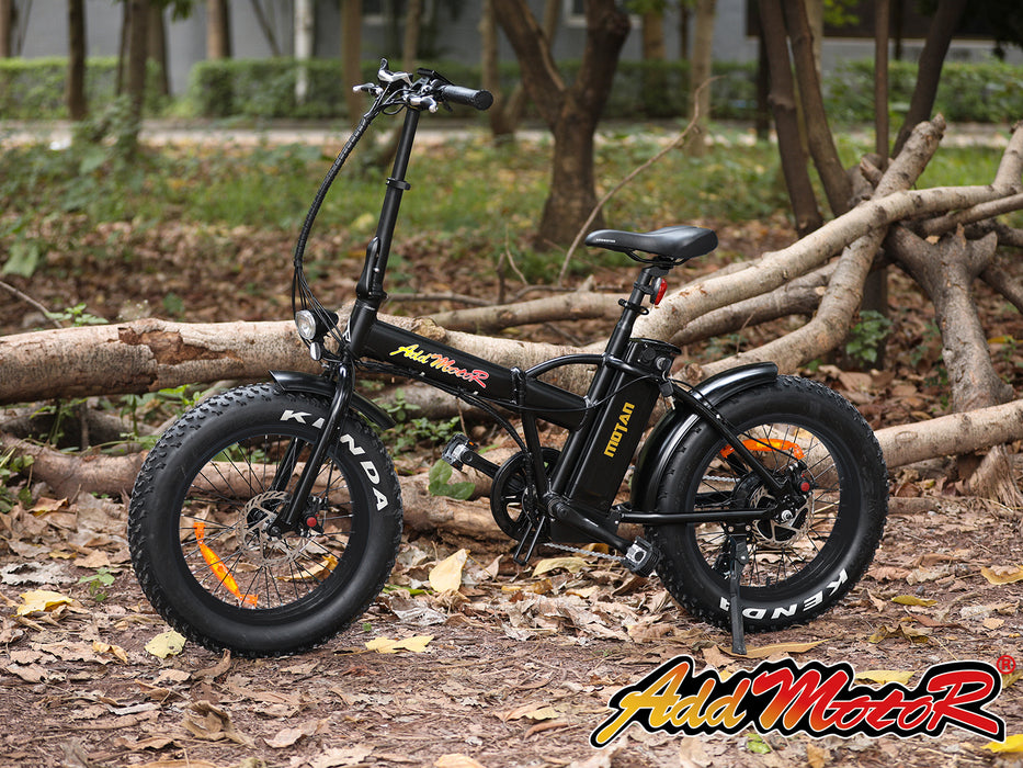 Addmotor Motan M150 Fat Tire 500W Folding Electric Bike Parked l Watt Fleet