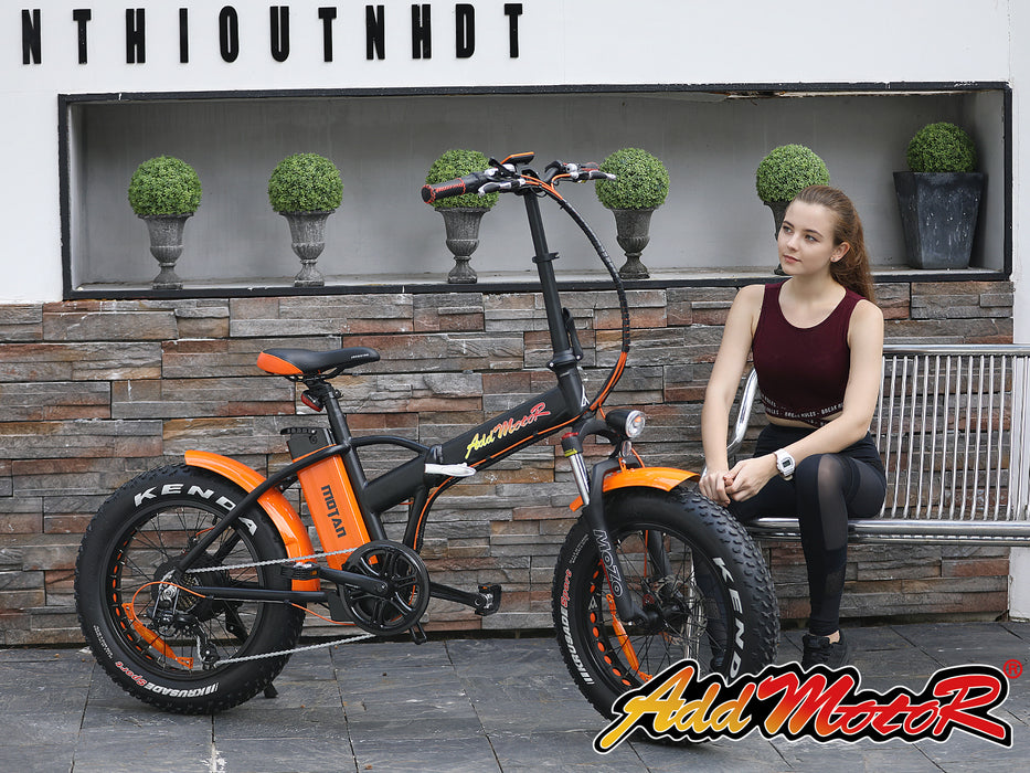 Addmotor Motan M150 P7 750W Folding Fat Tire Orange with Person eBike l Watt Fleet