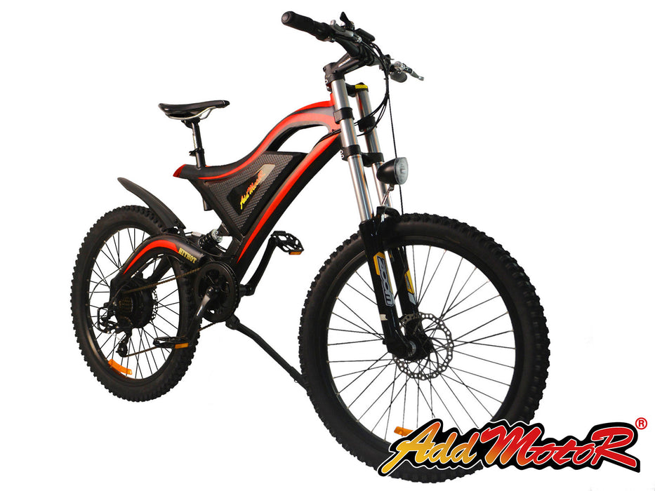 Addmotor HitHot H5 500W 48V 11.6AH 26-Inch Red Electric Mountain Bike l Watt Fleet