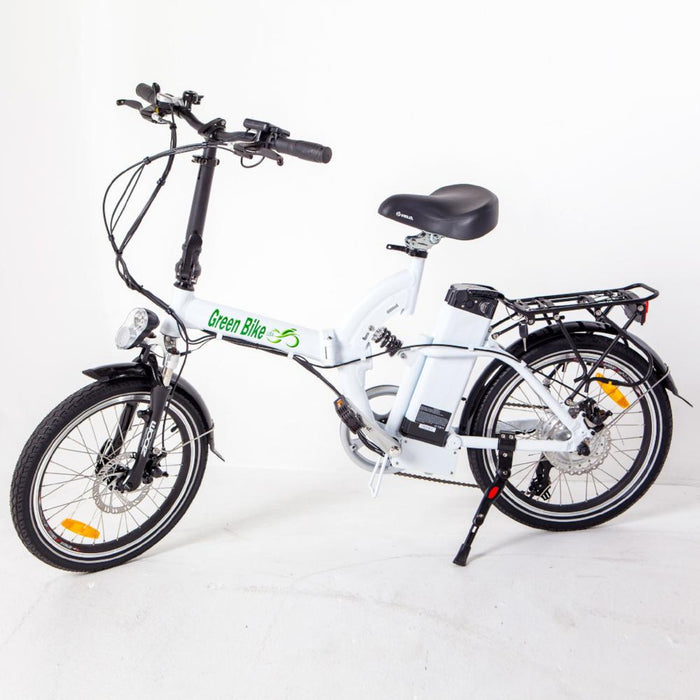Green Bike USA GB5 350W Folding Full Suspension White eBike l Watt Fleet