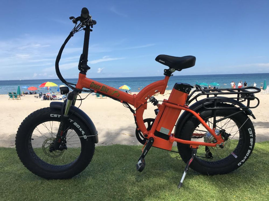Green Bike USA GB500 500W 48V Fat Tire Full Suspension Foldable Orange eBike l Watt Fleet