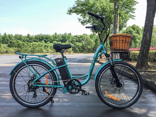 Big Cat Long Beach Cruiser Step Through Teal eBike l Watt Fleet