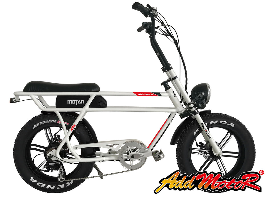 Addmotor Motan M70 Fat Tire 750W Retro Cruiser eBike White l Watt Fleet