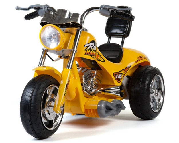 Mini Motos Red Hawk Motorcycle 12v Kids eRide-on Toy Yellow l Watt Fleet