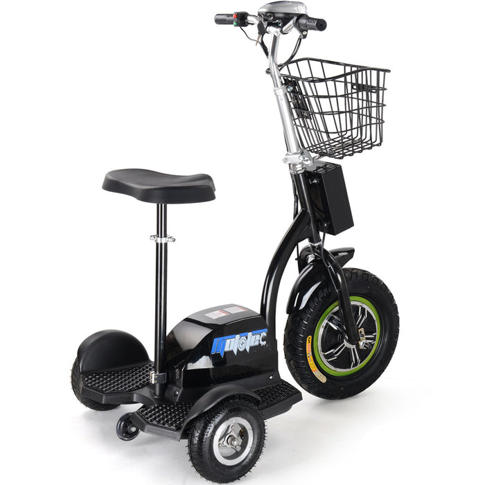 MotoTec Electric Trike 500W 48V w/Seat Black l Watt Fleet