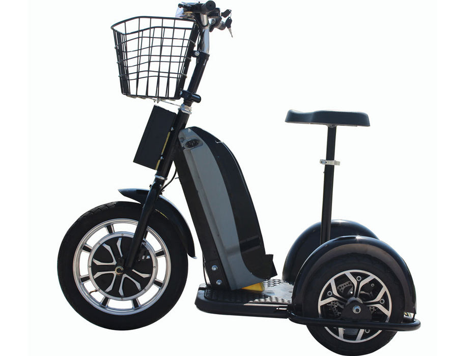 MotoTec Electric Trike 800W 48V w/Seat Black l Watt Fleet