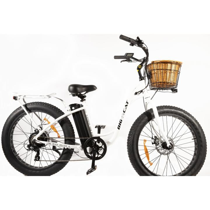 Big Cat Long Beach Cruiser XL 500W 48V Step Through eBike White Beach l Watt Fleet