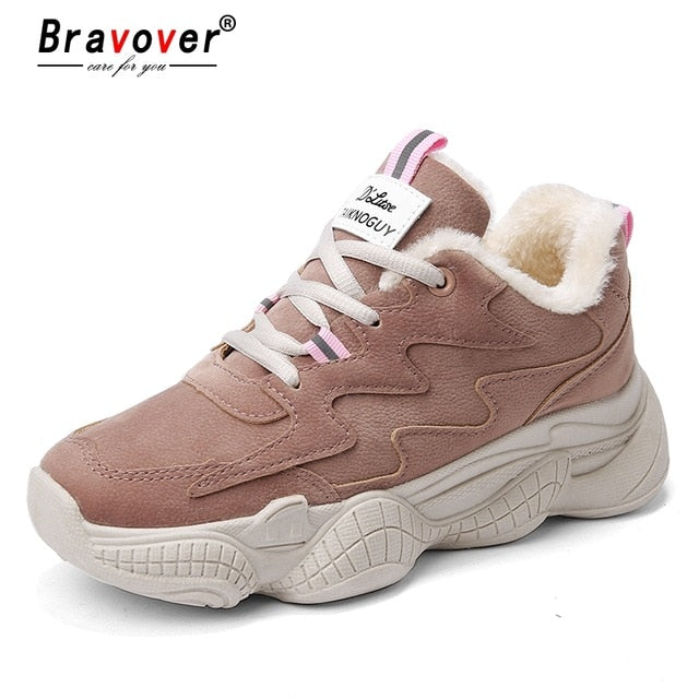 81df78f812b ... New Women Winter Fashion Clunky Sneaker Casual Fur Suede Shoes Leather  Platform Plush High Dad Shoes