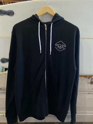 Whitlock Zip Up Hoody Black - Industries Logo White