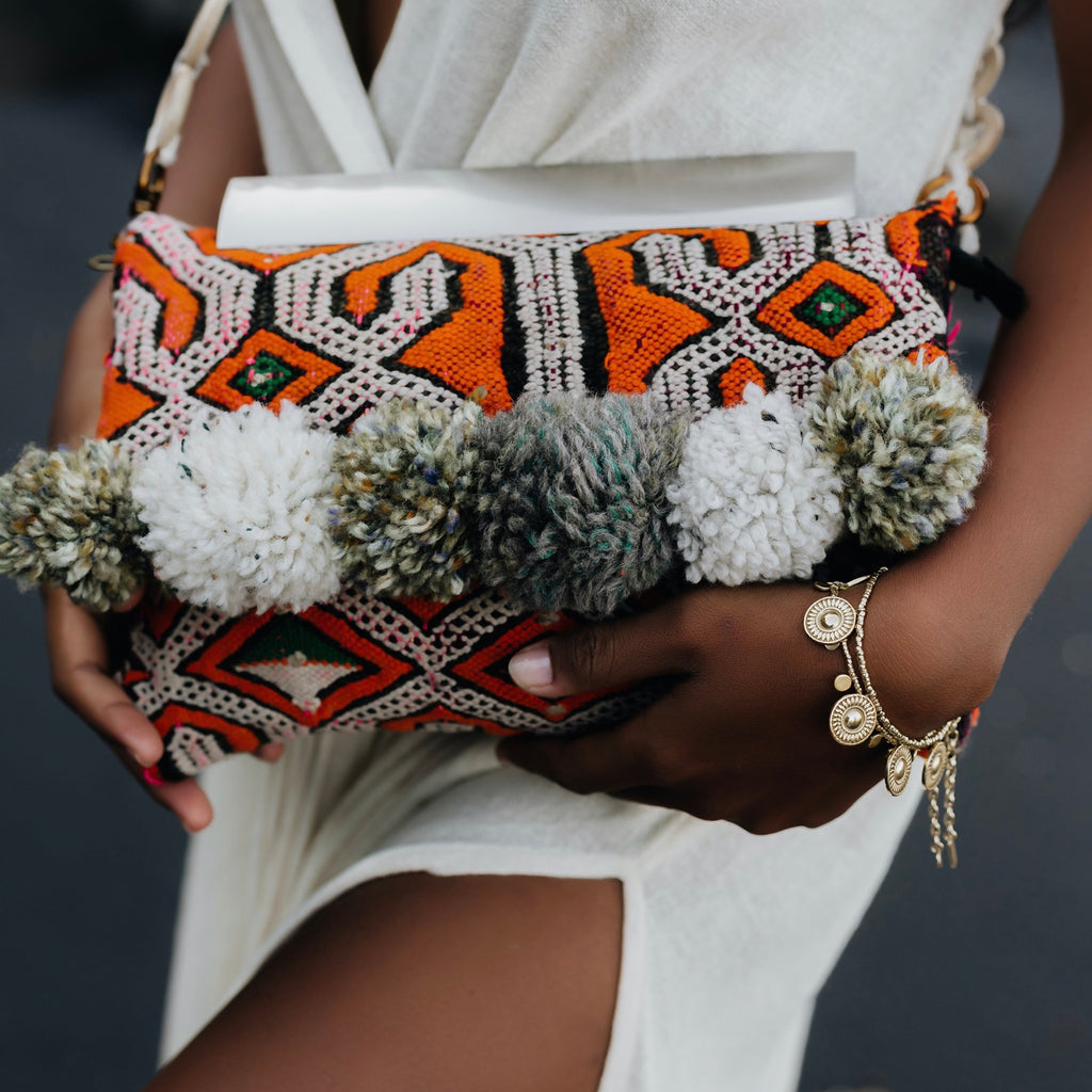 Orange Pom Pom Marrakech Bag