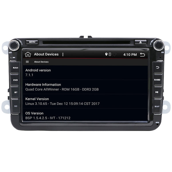 "SYSTEME ANDROID 8"" Quad core Android 7.1  dvd pour VW Polo Jetta Tiguan passat b6 cc fabia"
