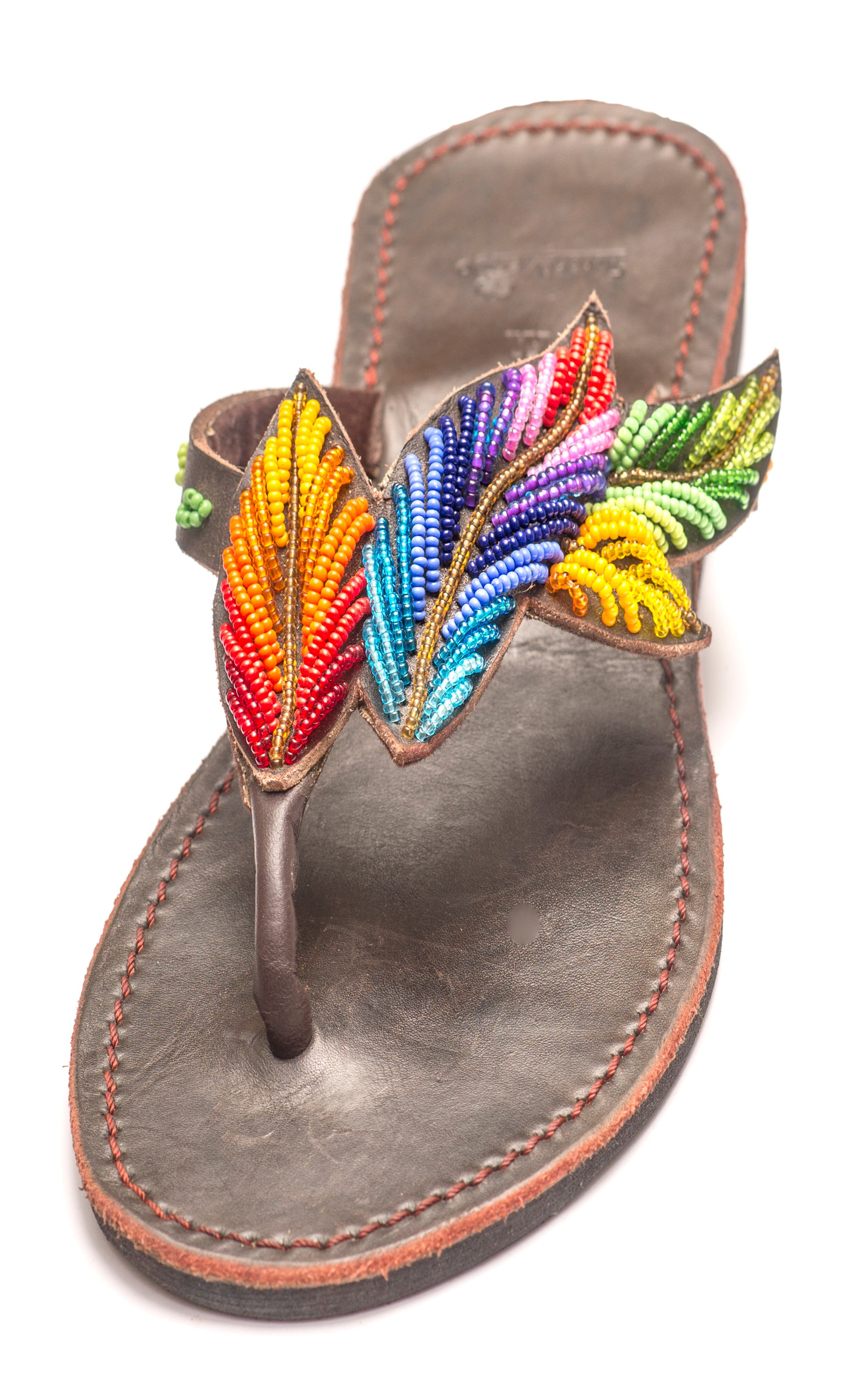 Leather Beaded Sandal - Leaf