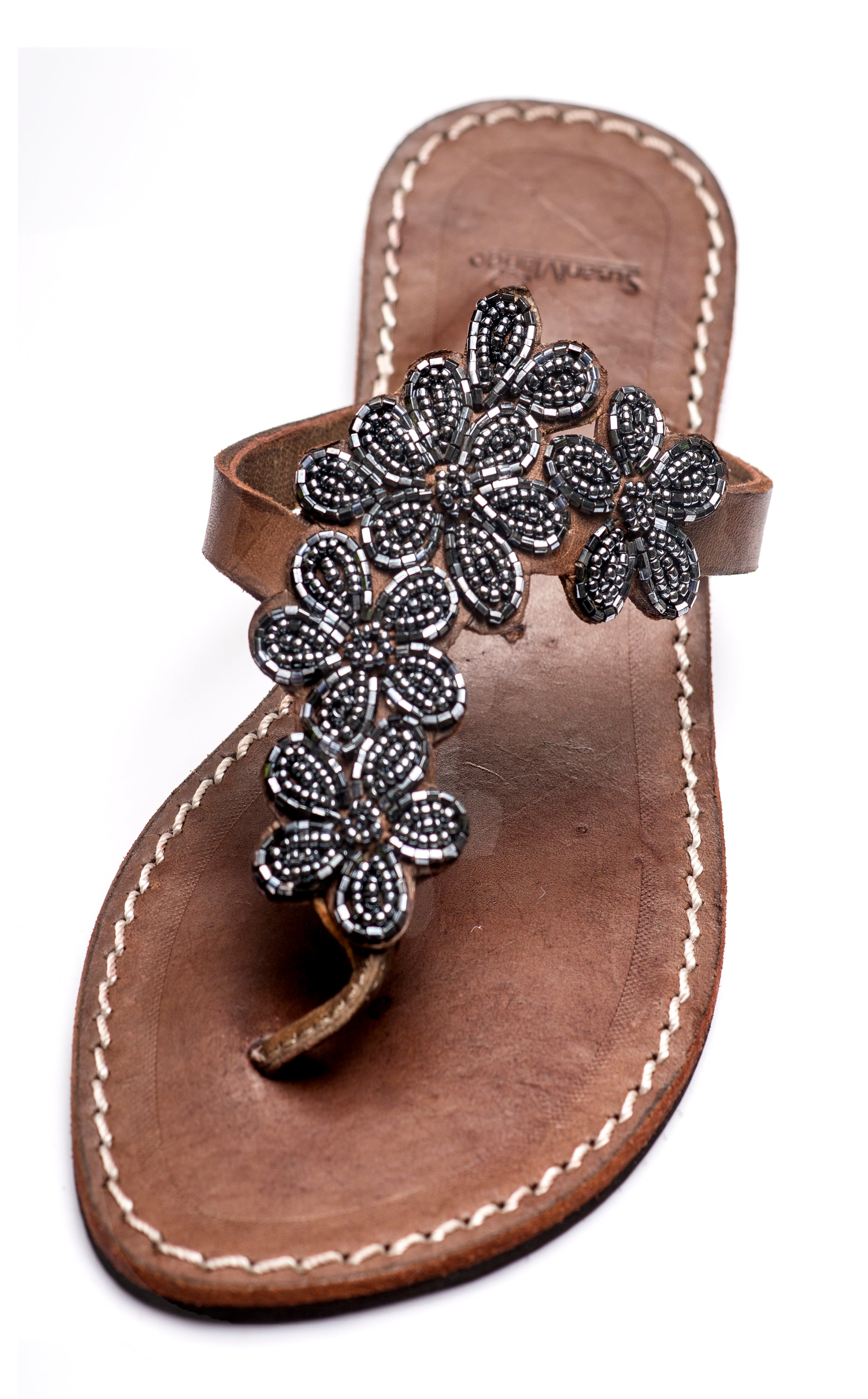 Leather Beaded Sandal - Floral