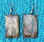 Rectangular Carved Shell Earrings