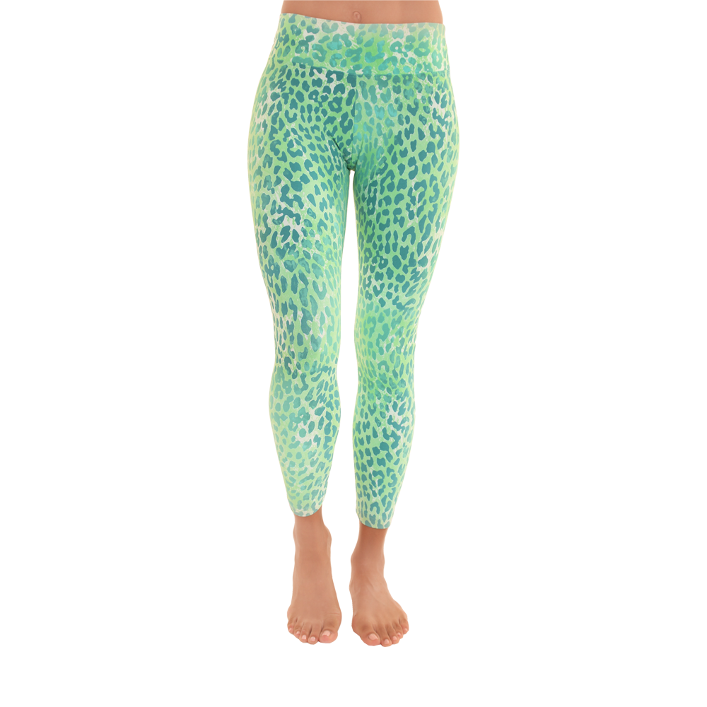 7/8 Legging Green Leopard