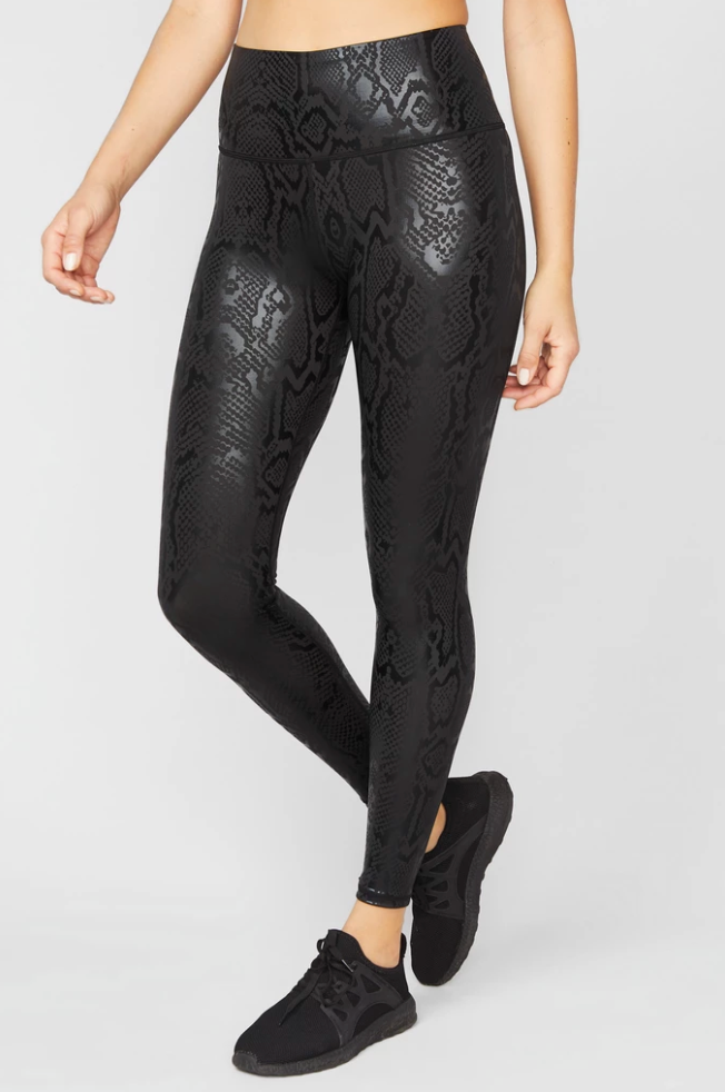 Obsidian Snakeskin Foil Super-High Band Leggings