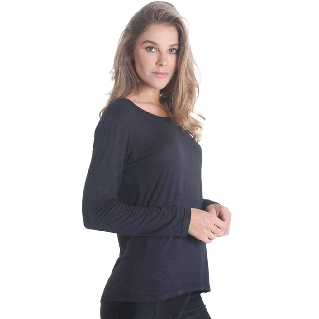 Cross Back Long Sleeve Black