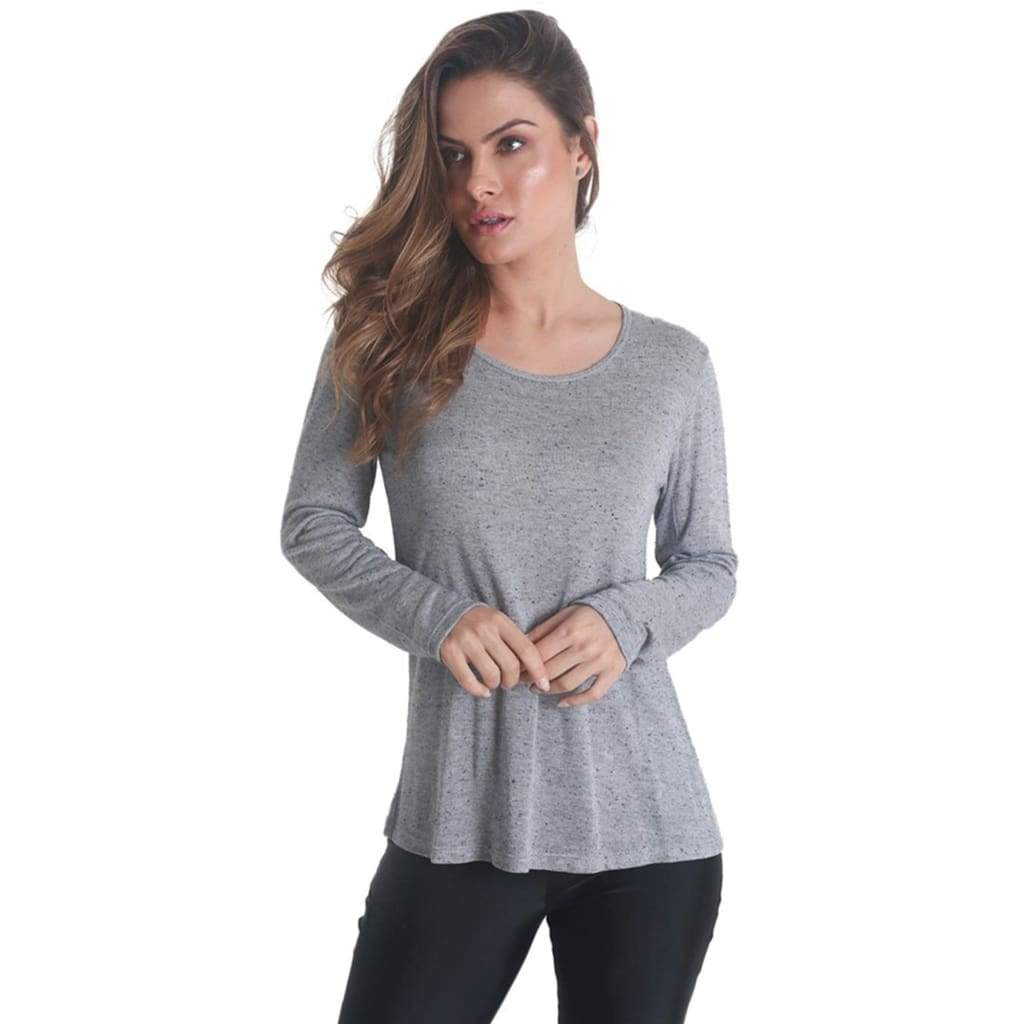 Cross Back Long Sleeve Grey