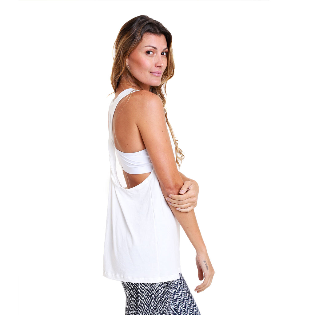 Polera Yoga Twist Tank Namaste Off White